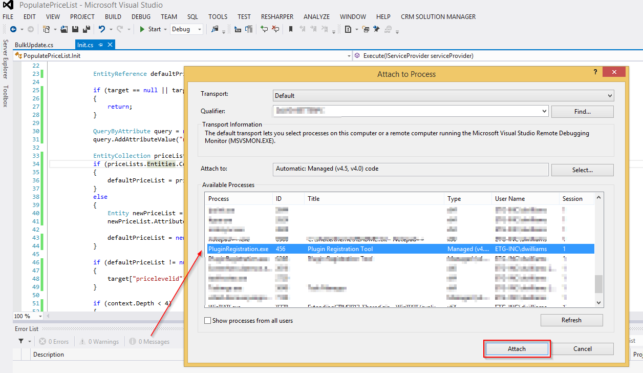 attach visual studio to plugin registration tool process screenshot