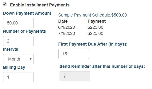 AMS Software Event Payment Plans
